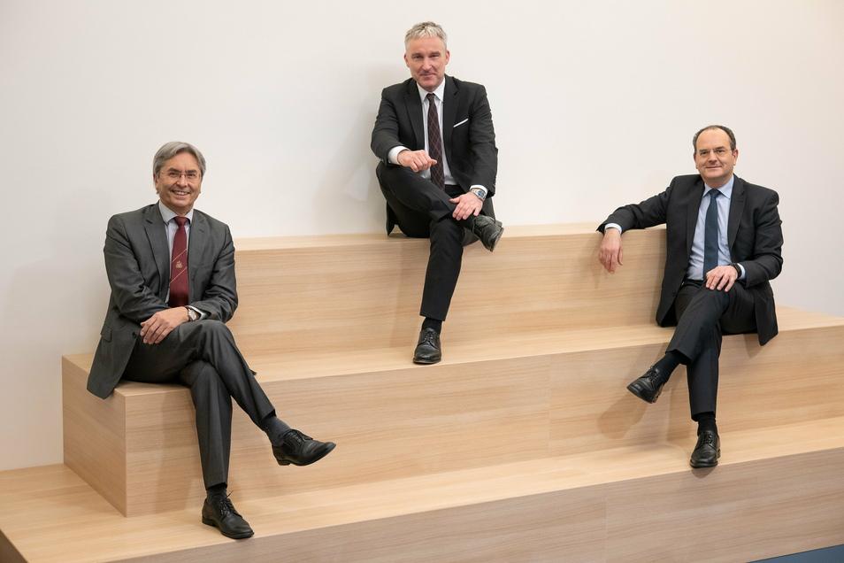 Die neuen Chefs der Uni-Firmenholding: Prof. Hans Müller-Steinhagen, Udo Werner, Prof. Jacques Rohayem (v.l.).