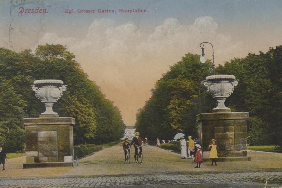 Die Postkarte zeigt einen Blick zum Königlich Großen Garten mit den Prunkvasen um 1910. Zu dieser Zeit hatten sie schon 80 Jahre dort gestanden.