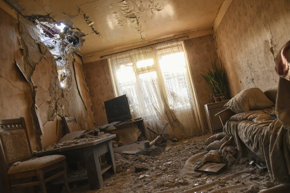 Diese Wohnung in Stepanakert ist nach den Gefechten komplett verwüstet.