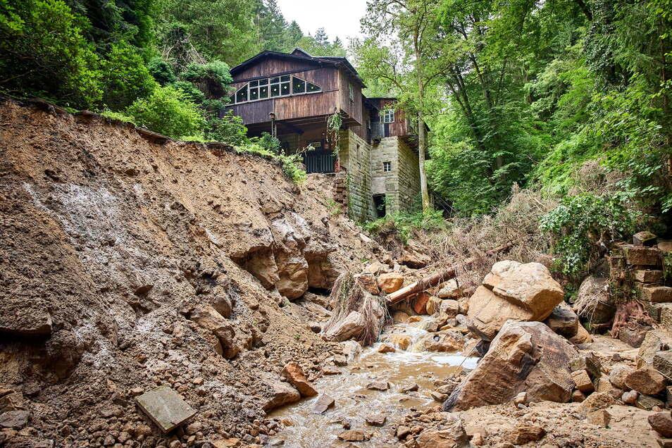 Die Niedermühle im Hirschgrund war eine von vielen. Das Wasser floss in Kaskaden zur Elbe hinunter.