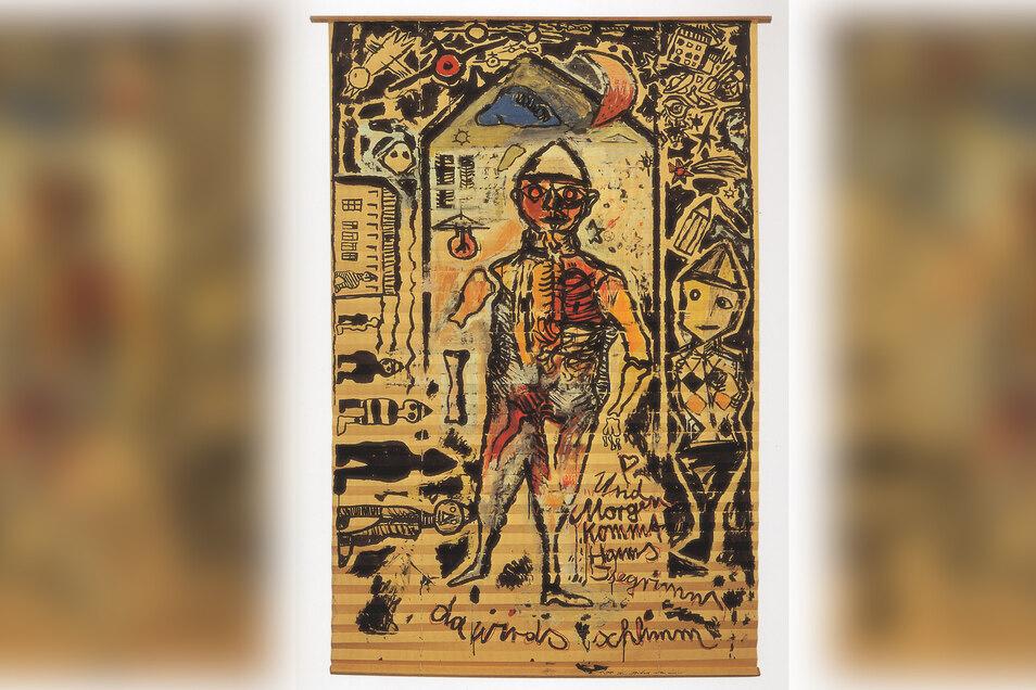 """Andreas Küchlers Rollo """"Und morgen kommt Hanns Isegrimm, da wird's schlimm"""" ist ein Hauptwerk der Rollomalerei in der DDR Mitte der 80er-Jahre. Diese Figur wurde Küchlers alter ego: Der Mensch bedrängt von seiner Umwelt."""