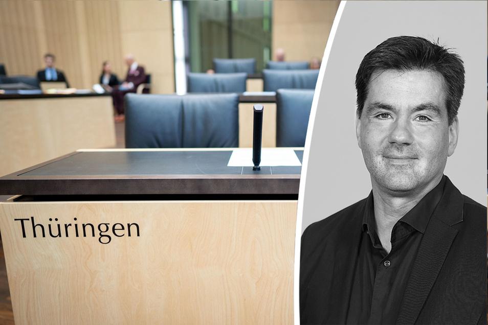 Leere Stühle und Tische sind im Bundesrat zu Beginn der Sitzung für das Land Thüringen zu sehen. Erstmals seit der Wiedervereinigung wird Thüringen bei einer Bundesratssitzung nicht vertreten sein.
