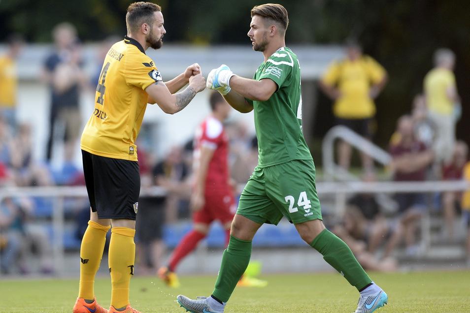 Im August 2015 testete Dynamo gegen den Berliner AK. In Finsterwalde standen auch Giuliano Modica und Torwart Patrick Wiegers auf dem Platz.