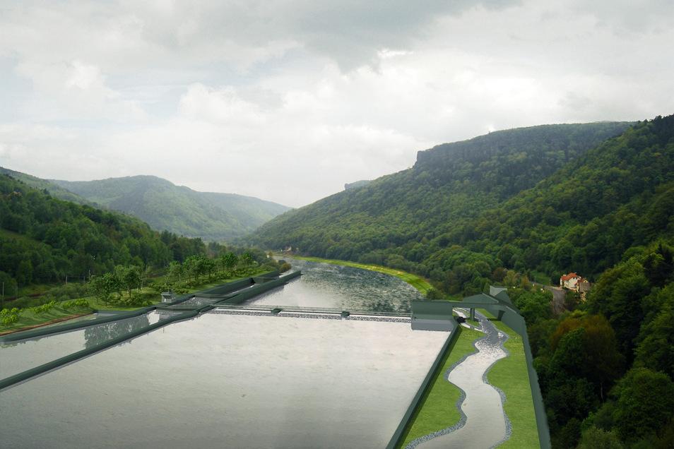 Die geplante Staustufe bei Decin (Planungsstand von 2015) soll laut Tschechien die Schiffbarkeit der Elbe verbessern. Sie soll aus einem 6,50 Meter hohen Wehr nebst Schleuse, Wasserkraftwerk und Fischkorridoren bestehen.