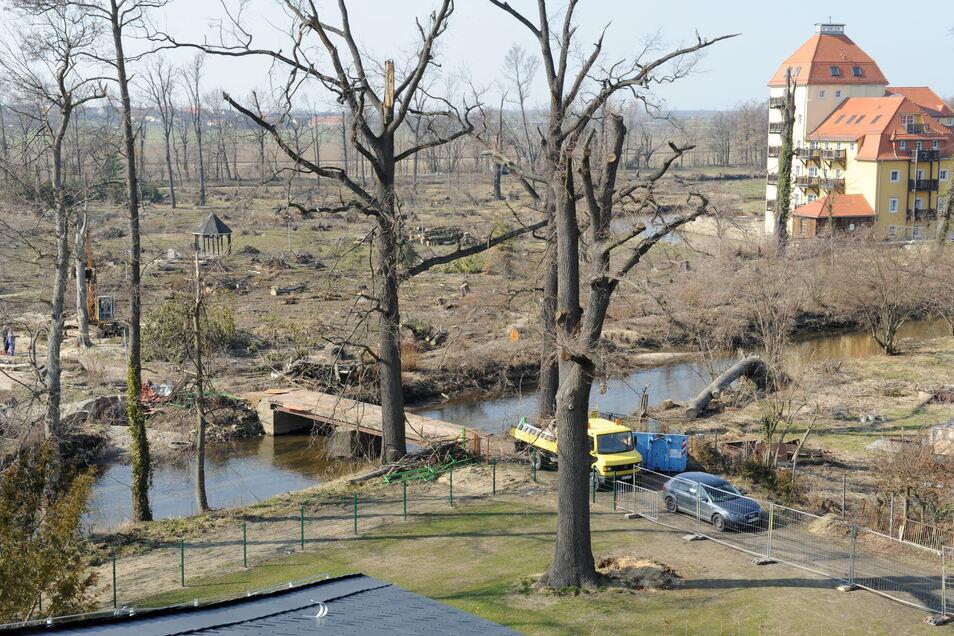 Auch in Walda wurde der Park damals verwüstet, kaum ein Baum blieb nach dem Tornado stehen.