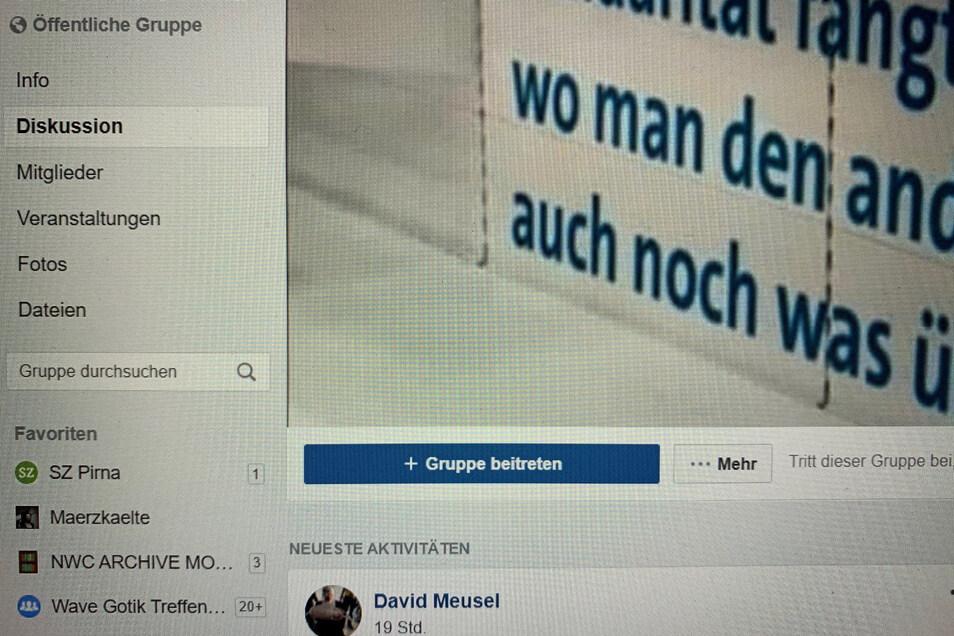 """Screenshot von der Facebook-Seite """"Corona-Hilfe Pirna""""."""