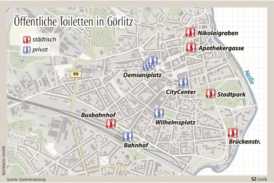 Im Görlitzer Stadtzentrum gibt es mehrere öffentliche Toiletten.