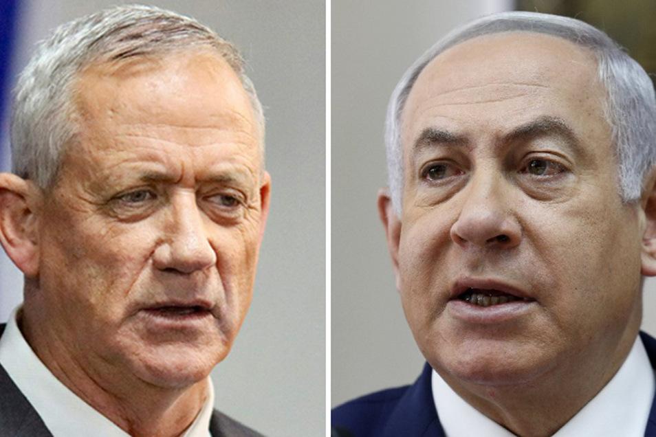 Die Abgeordneten machten mit der Gesetzesänderung eine Rotation im Amt des Ministerpräsidenten zwischen dem rechtskonservativen Regierungschef Benjamin Netanjahu (r.) und seinem Rivalen Benny Gantz möglich,
