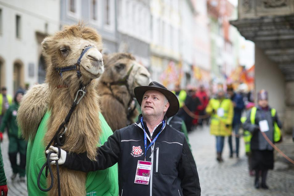 Sven Hammer, hier während der Prozession zum Dreikönigstag 2019 in Görlitz und Zgorzelec. Er gab ein Privatkamel nach Zittau ab.