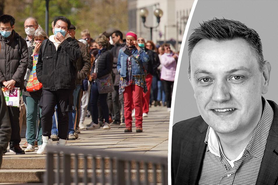 Die Landeshauptstadt Dresden verteilt 20000Schutzmasken gratis. SZ-Redakteur Andreas Weller hat große Zweifel an der Art und Weise.