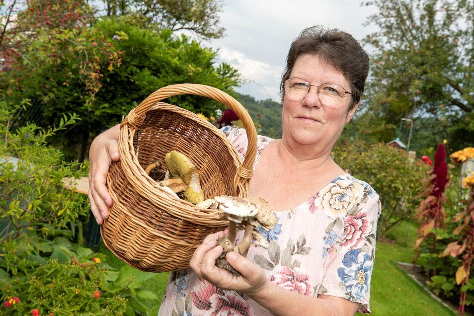Pilzberaterin Heidrun Wawrok aus Pirna-Mockethal freut sich über eine gute Pilzernte.