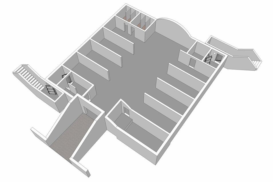 Diesen Standardaufbau hatten die Bunker vom Typ SBW-300: Vorn die Kfz-Zufahrt, links daneben ein Zugang mit Schleuse und Dekontamination, rechts daneben der Raum für die Belüftungsanlage. Hinten links die Sanitäranlagen, rechts ein weiterer Zugang.