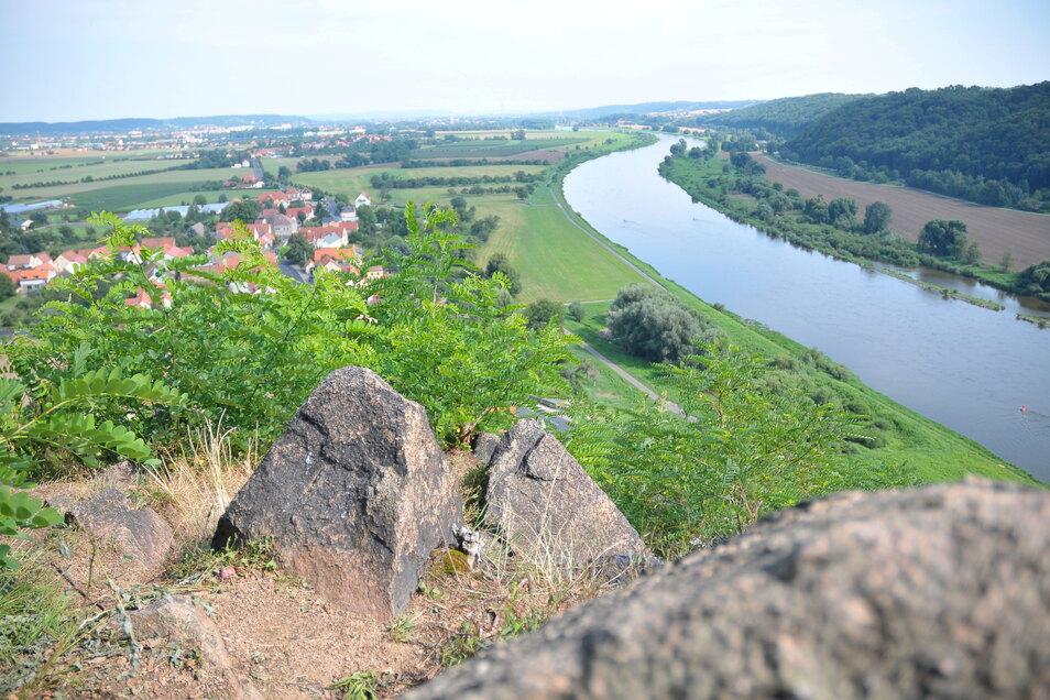 Vom Meißner Boselfelsen aus reicht der Blick weit ins Elbtal und nicht zuletzt über die Weinberge. Unterhalb des kleinen Gebirges wird am Wochenende die Weinlese gefeiert.