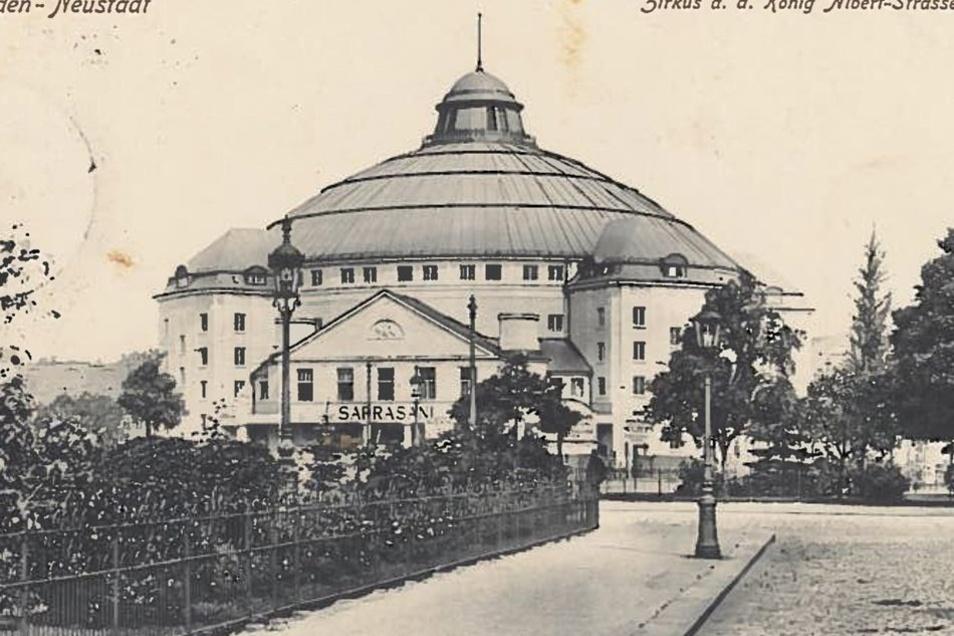 """""""Circus-Theater der 5000"""": Das Sarrasani-Gebäude mit der markanten Kuppel am Carolaplatz war einst der größte Zirkusbau Europas, mit Manege, Orchestergraben und Bühne."""
