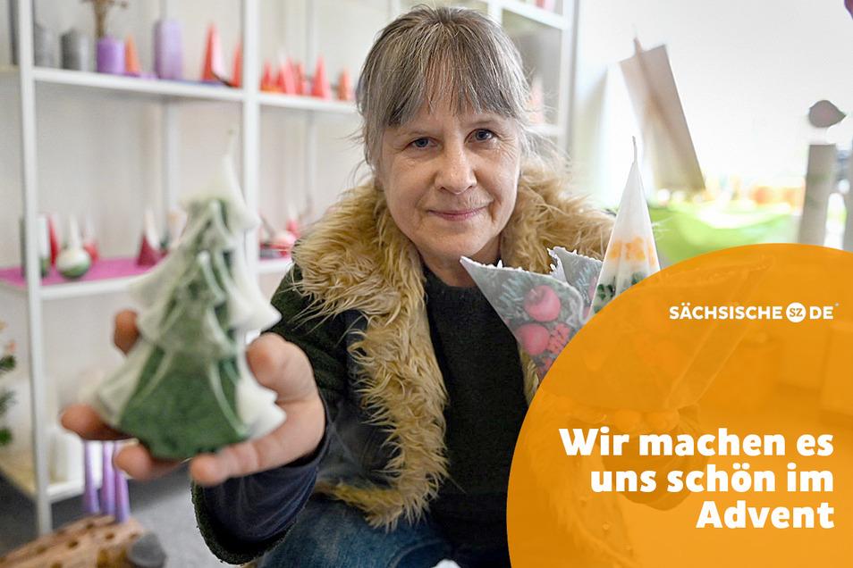 Marion Krause hat in ihrer Kerzenzieherei auf der Berliner Straße Kerzen aller Sorten - für besinnliche Stunden im Advent.