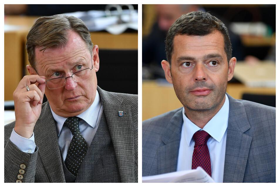 Bodo Ramelow (l): Der Ministerpräsident von der Linkspartei will im Amt bleiben. Mike Mohring (r): Der CDU-Spitzenkandidat spürt Rückenwind aus Sachsen.