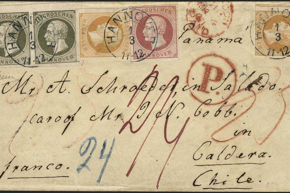 Ein Auslandsbrief, der 1861 von Hannover aus auf abenteuerlichem Weg nach Chile geschickt wurde, ist am Samstag in Wiesbaden versteigert worden.