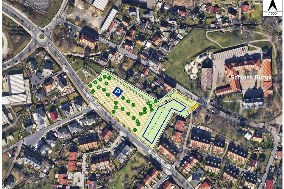So ordnet sich der Parkplatz in das Wohngebiet Burgk ein. Seine Größe ist nach wie vor einer der Kritikpunkte der Anwohner.