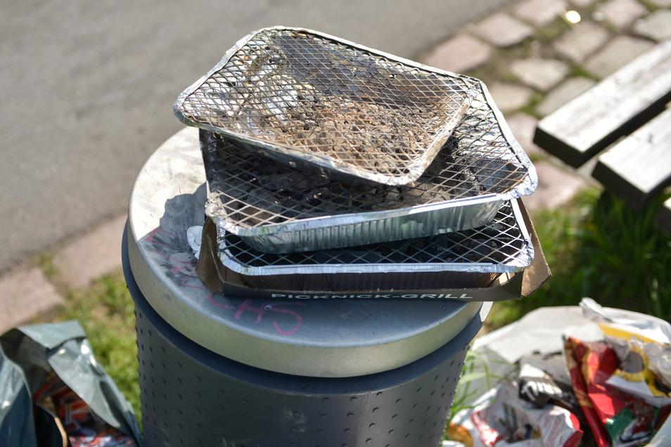 So wie auf diesem Symbolfoto, quellen viele der öffentlichen Abfallbehälter am Elberadweg und in der Innenstadt über.