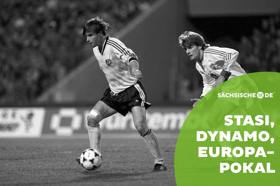 Dynamos im Juni 2019 verstorbener Mittelfeld-Motor Jörg Stübner (l.) entwischt im Europapokal-Halbfinale 1989 Michael Schröder vom VfB Stuttgart. Ob er sein Trikot getauscht hat, ist nicht bekannt, aber ein Fan hatte schon eins.