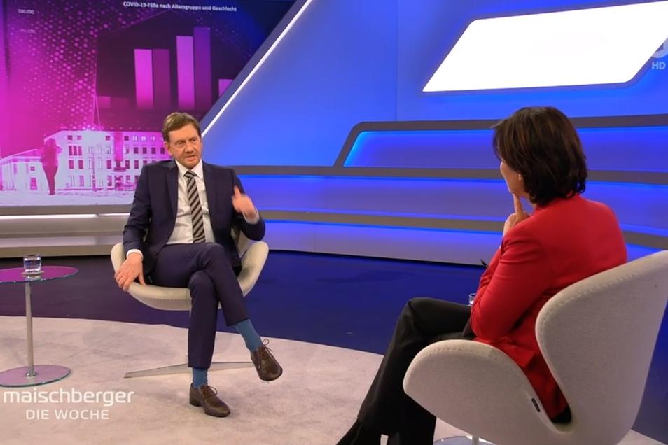 Im Interview mit Sandra Maischberger bekräftigte Sachsens Ministerpräsident Michael Kretschmer seinen Vorstoß, dass es in den Osterferien keine Reisen geben werde.