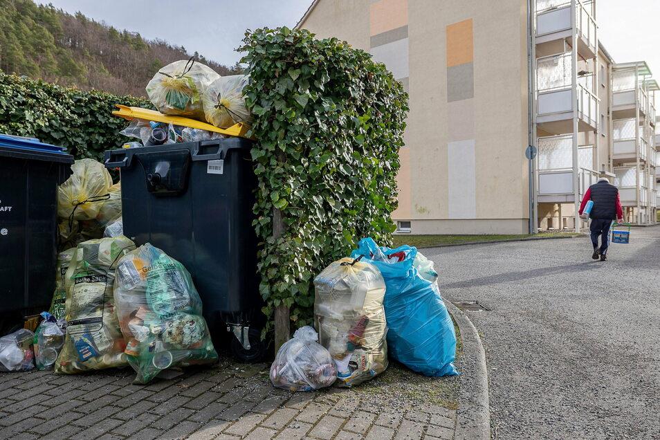Seit Mitte Dezember nicht geleert: In Hainsberg und nicht nur dort sind die Müllplätze überfüllt.