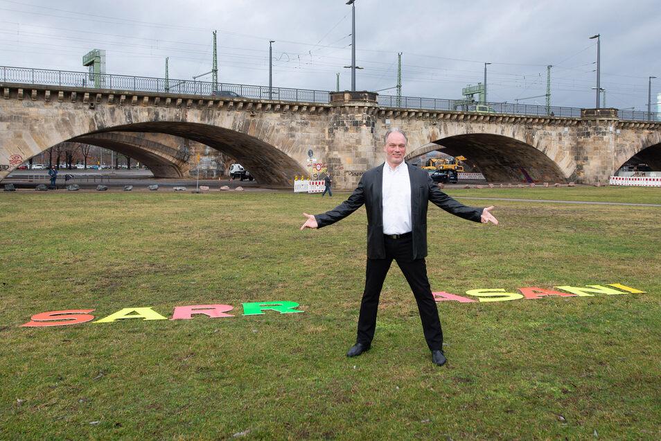 Statt an der Marienbrücke ist der Magier in den Elbepark zurückgekehrt.