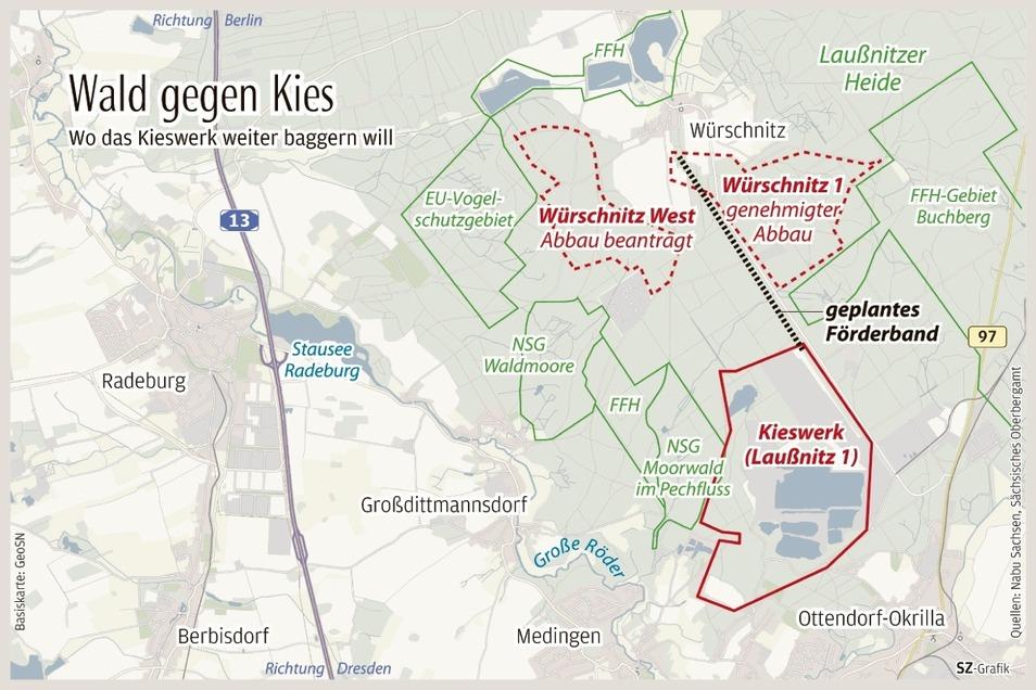 Umgeben von Schutzgebieten liegen die tatsächlichen und geplanten Abbaugebiete der Kieswerk Ottendorf-Okrilla GmbH & Co. KG