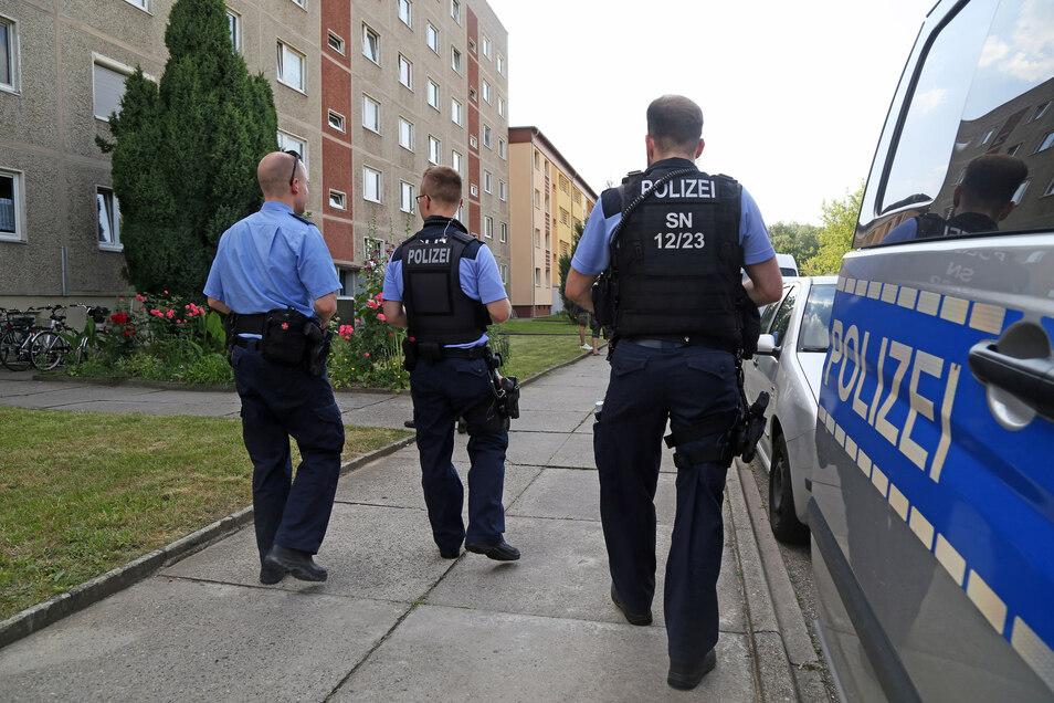 Die Bereitschaftspolizei läuft am Mittwoch die Wohnblöcke an der Karl-Marx-Straße in Nünchritz ab. Die Beamten unterstützen dort eine Befragung der Kripo, die nach einer Serie an Brandstiftungen auf der Suche nach Zeugen ist.