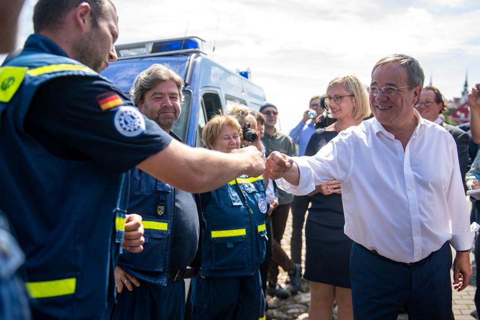 Unions-Kanzlerkandidat Armin Laschet besuchte in der vergangenen Woche das Technische Hilfswerk in Torgau.