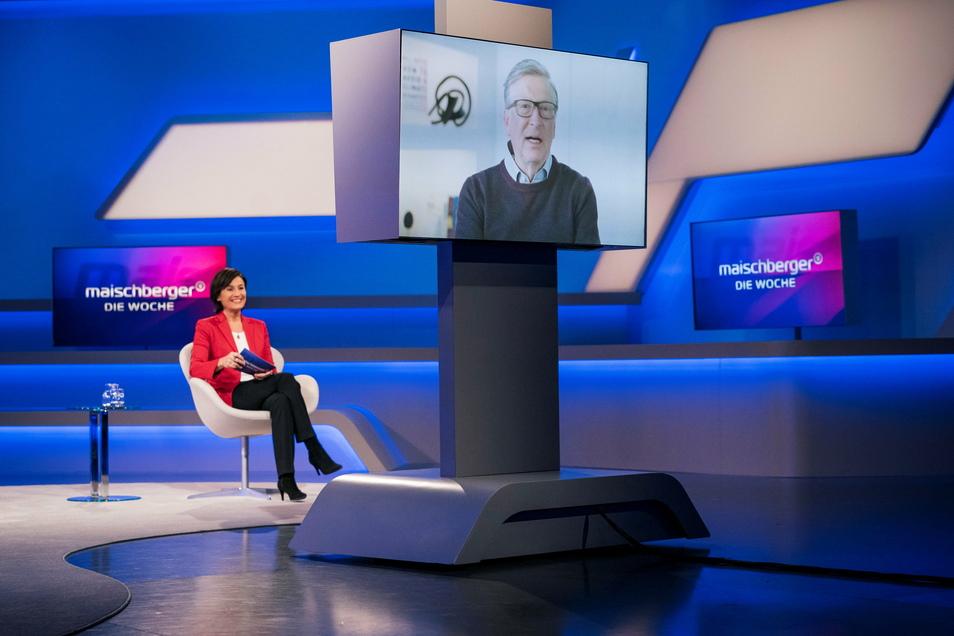 Sandra Maischberger interviewt Bill Gates.