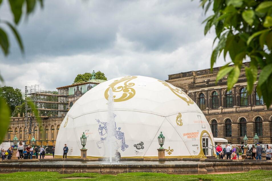 Einen kleinen Vorgeschmack auf die Zwinger-Ausstellung konnten Besucher in diesem Zelt erhalten, das im Juli 2020 wieder abgebaut worden war.