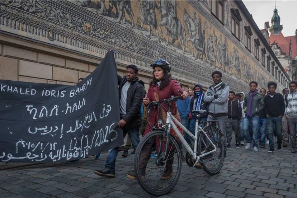 An der Demo für den jungen Mann beteiligten rund 200 Asylbewerber und Unterstützer.