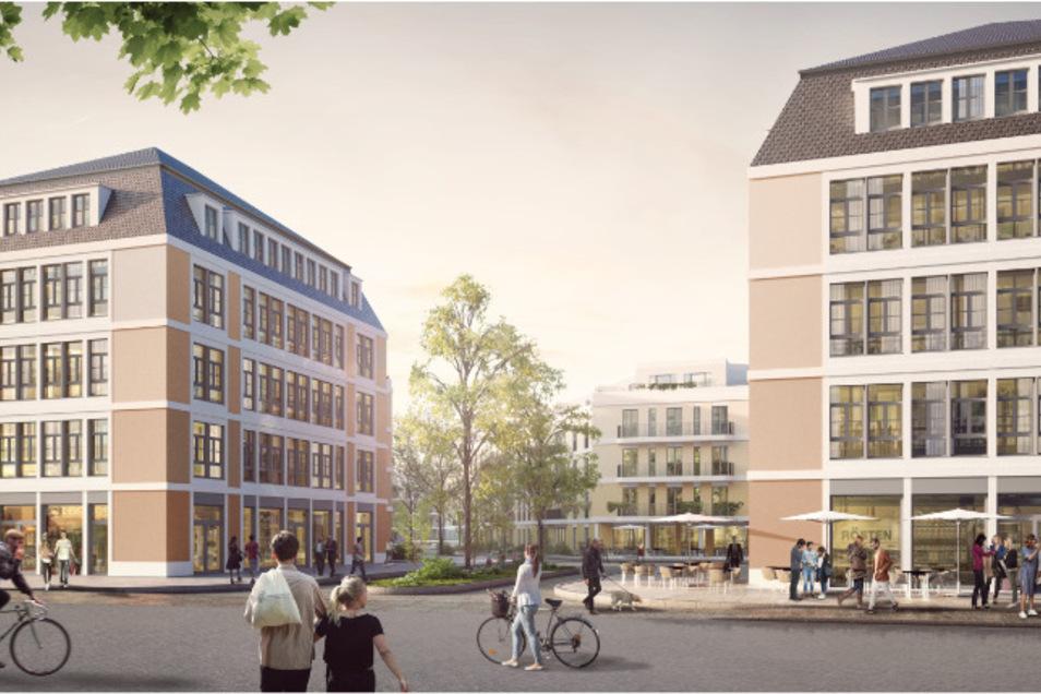 Zwischen Friedrich- und Magdeburger Straße sollen fünfgeschossige Neubauten entstehen. Aber auch historische Bausubstanz bleibt erhalten.