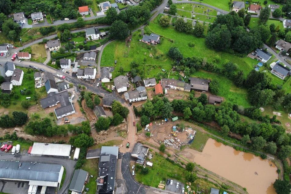 Die vom Juli-Hochwasser 2021 besonders schwer getroffene Gemeinde Gerolstein-Müllenborn in Rheinland-Pfalz. Foto: Malteser