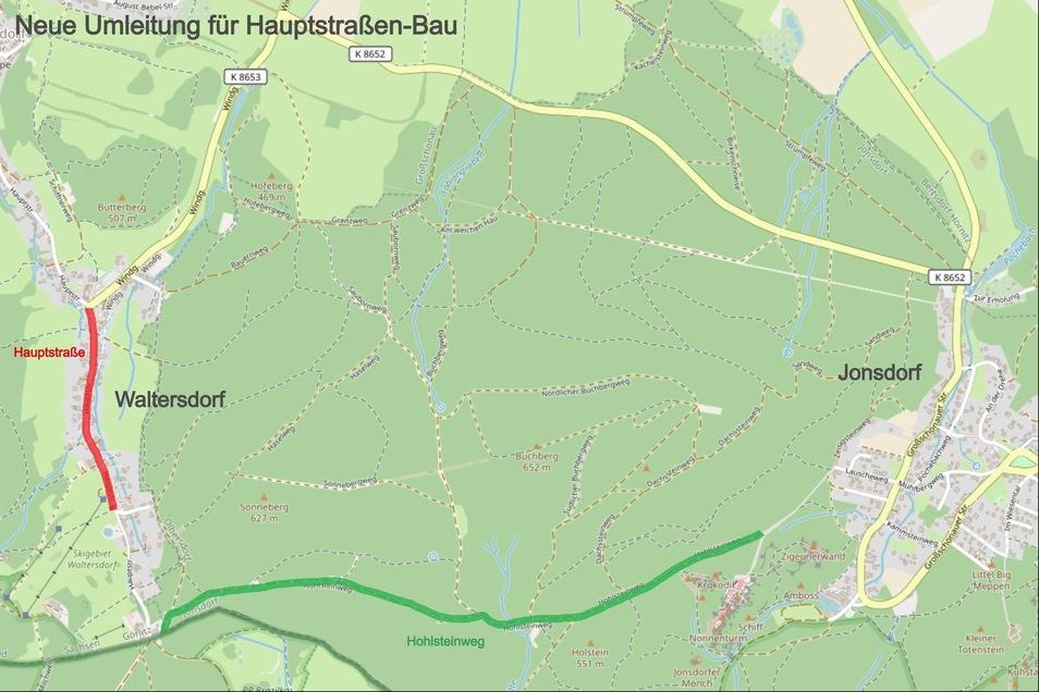 Die Waltersdorfer Hauptstraße, die an der tschechischen Grenze als Sackgasse endet, soll unter Vollsperrung ausgebaut werden. Damit Anwohner und Gäste die Häuser und Hotels oberhalb der Baustelle erreichen können, soll die Anfahrt zu diesem Bereich von Jo