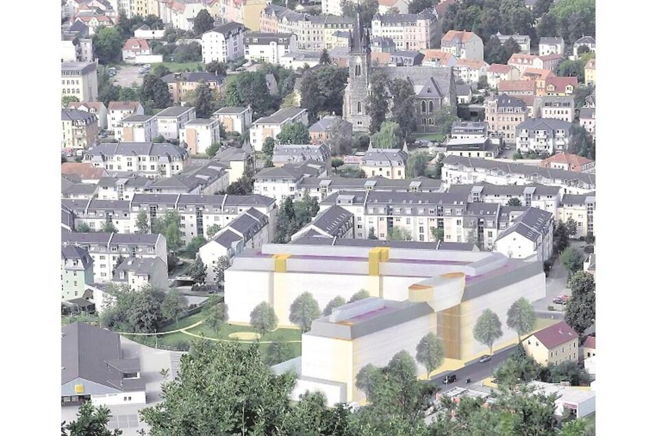 Im Bild ist zu sehen, wie sich der Komplex in die umliegende Bebauung einordnen würde.