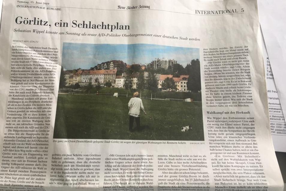 So berichtete am Sonnabend die Deutschland-Ausgabe der Neuen Zürcher Zeitung über die bevorstehende Wahl in Görlitz