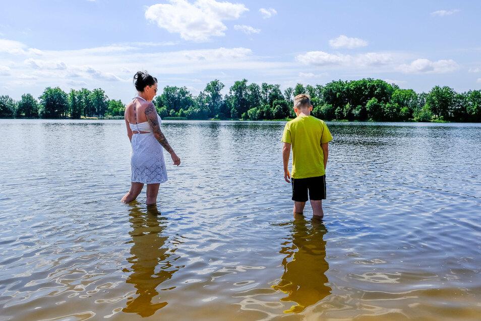 Direkt vom Zelt oder Camper oder der Hütte in den Stausee zum Baden. Das Wasser in Radeburg wird regelmäßig überprüft.