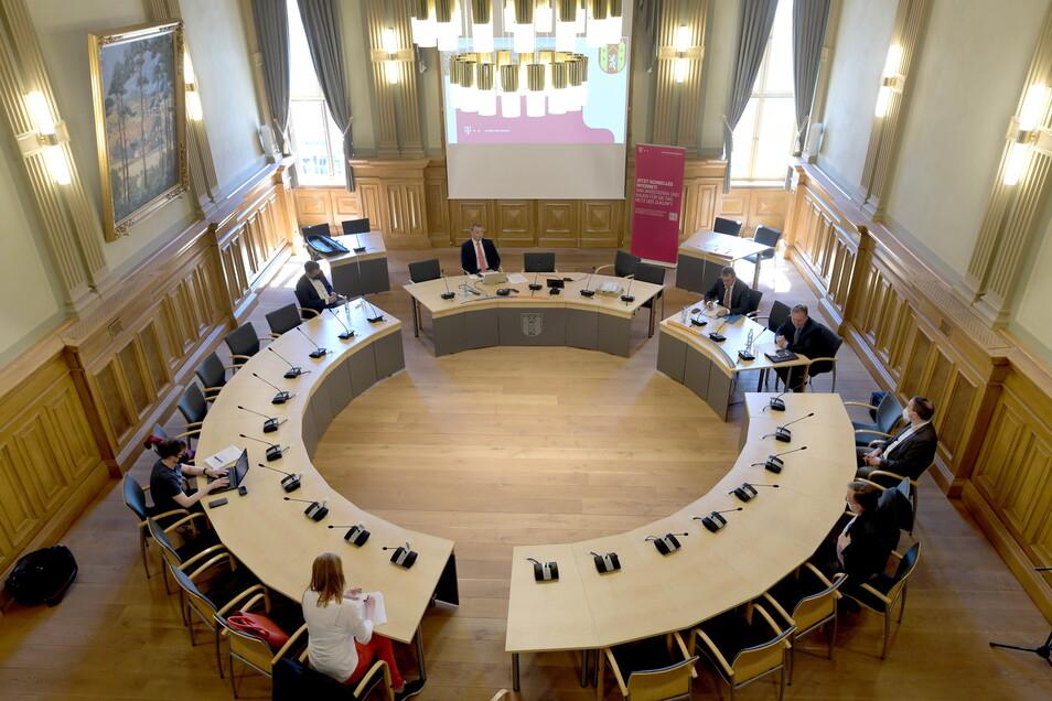 Im Löbauer Ratssaal tagt der Stadtrat normalerweise.