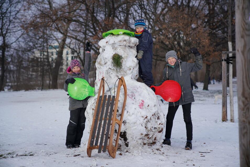 Luise, Theodor und Paul (v.l.) sind mit ihren Schlitten und Bobs im Alaunpark unterwegs.