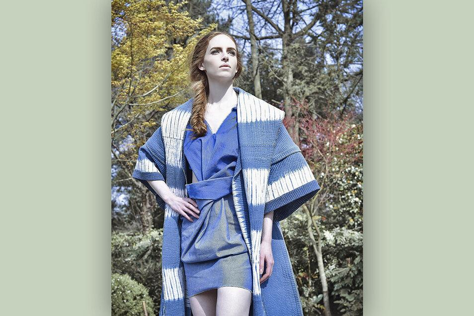 Kimono, gefärbt mit naturindigo von Living Blue aus Bangladesch.