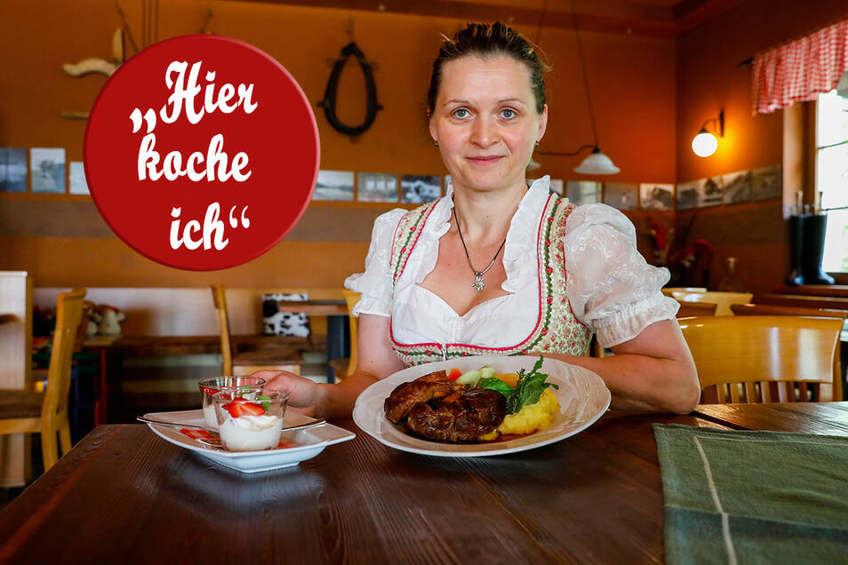 Jeannette Prinke hat ein Ossobucco mit Kartoffel-Sellerie-Püree und einem Erdbeerquark angerichtet.
