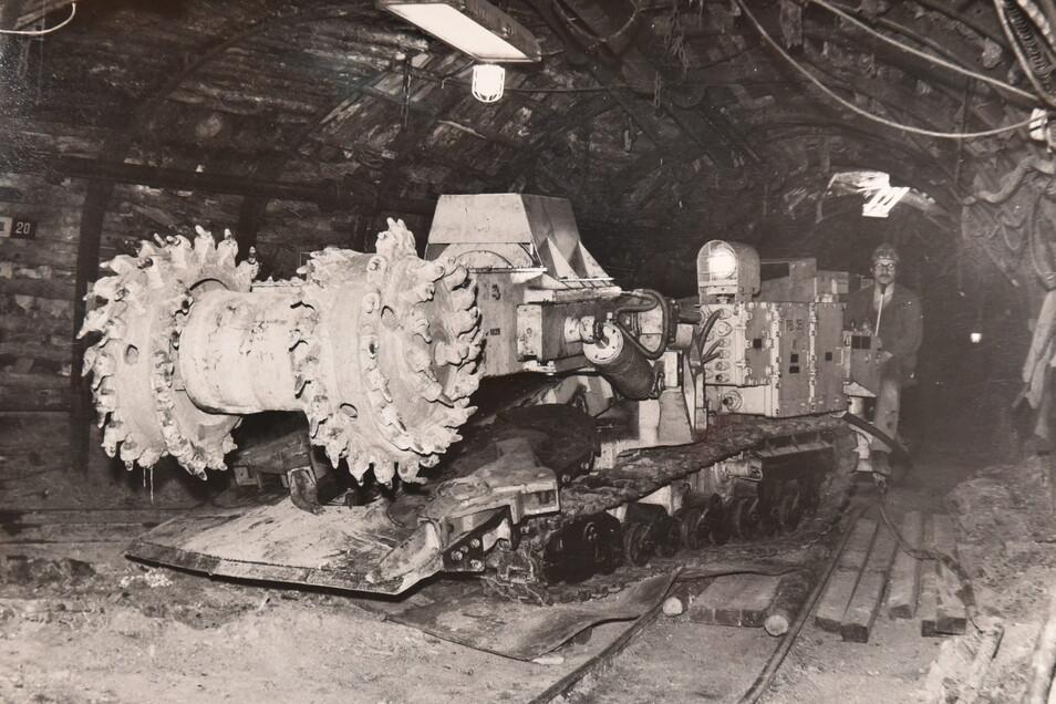 """Ein """"Saurier"""" untertage: Ab 1983 wird bei """"Willi Agatz"""" eine sowjetische Teilschnittmaschine für den Abbau uranhaltiger Kohle eingesetzt."""