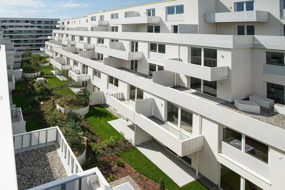 An der Wallstraße mitten in der Dresdner Innenstadt sind neue Wohnungen entstanden. Nicht jede Dresdner Familie kann sich hier ein neues Zuhause leisten.