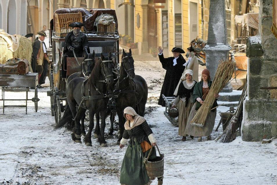 """Drehort Untermarkt: 2009 wurde der Platz zum Set für """"Goethe"""", sogar künstlichen Schnee gab es damals."""