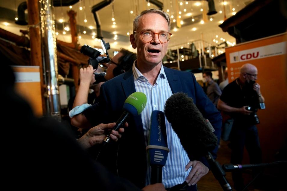 CDU-Kandidat Markus Reichel bei der Wahlparty seiner Partei.