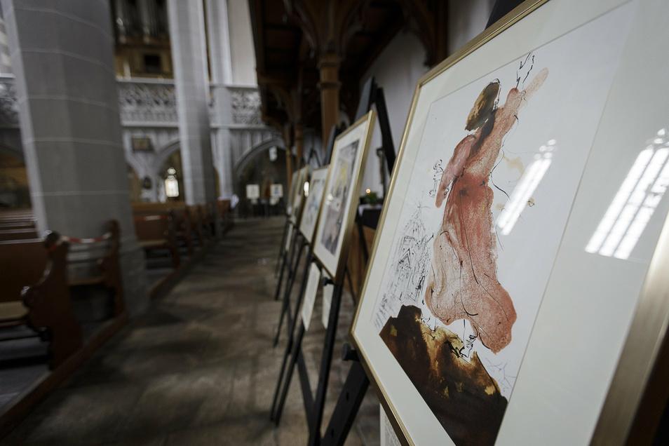 """Rund 30 Werke aus Dalís Zyklus """"Biblia Sacra"""" sind in der Görlitzer Frauenkirche ausgestellt."""