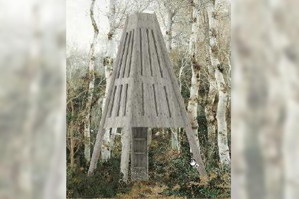 Ein weiteres Tetraeder hat Julia Hottenbacher als Schutzhütte entworfen. Im Bauch des Objektes gibt es drei Schlafplätze. Zusätzlich dazu können Hängematten aufgehängt werden. Per Leiter können Wanderer zudem bis zu einer Luke in der Spitze steigen und den Ausblick genießen.