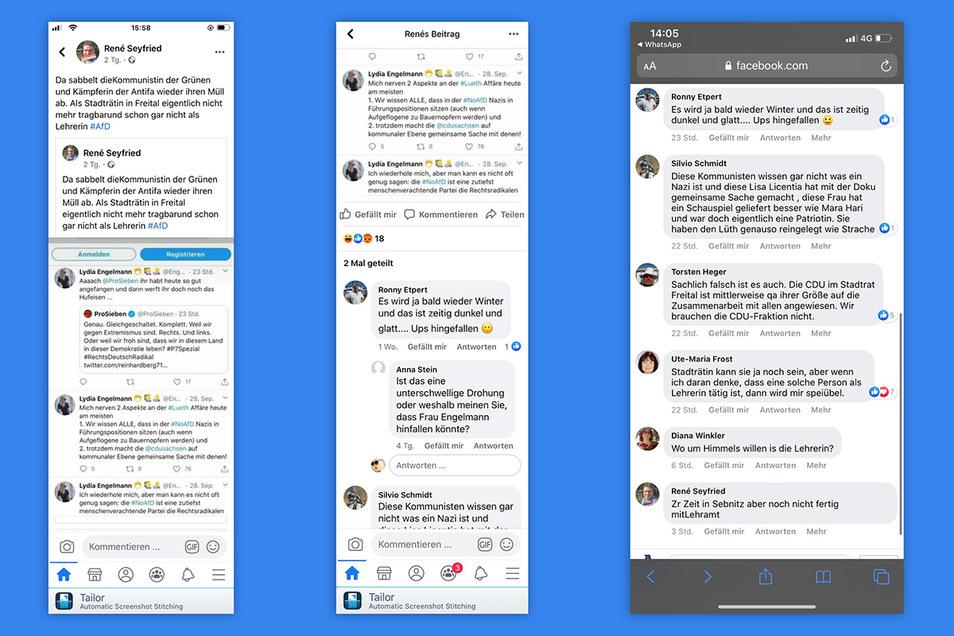 AfD Stadtrat René Seyfried zitierte den Tweet von Grünen-Stadträtin Lydia Engelmann auf seiner Facebook-Seite. Darunter sammelten sich heftige Kommentare bis hin zu einer Drohung.